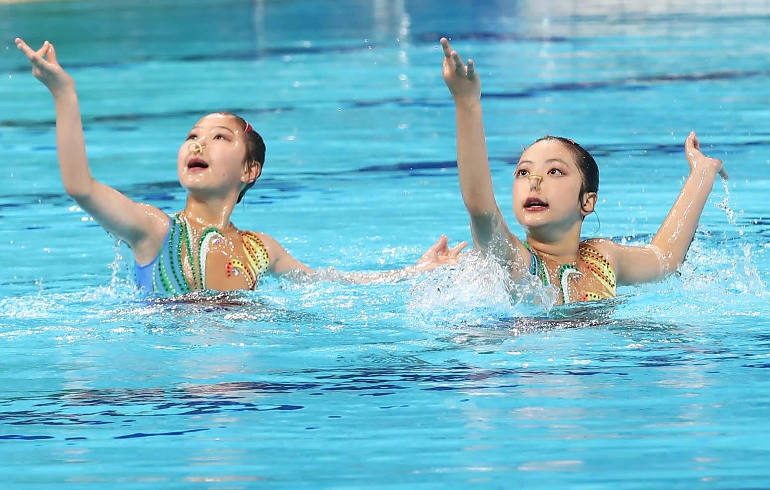 十四运花样游泳测试赛在奥体中心游泳跳水馆举行