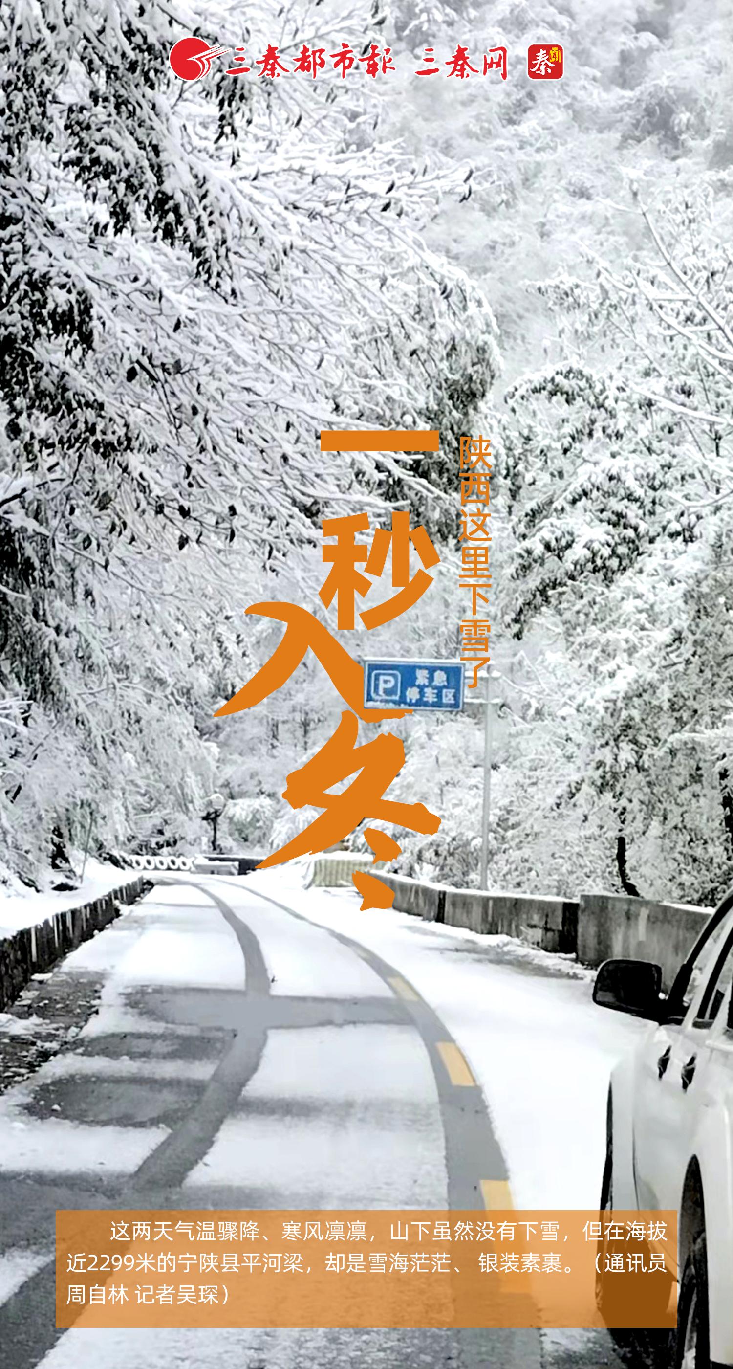 宁陕县平河梁下雪了!